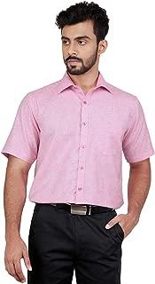 Zeal Light Pink Formal Half Sleeves Linen Blend Shirt
