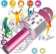 Suntop Micrófono Karaoke Bluetooth, Micrófono Inalámbrico Bluetooth, Bluetooth Altavoz, Micrófono Karaoke Portátil para KTV, Micrófono Wireless Bluetooth Compatibile con PC/iPad/iPhone