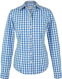 """Almsach Damen Trachten-Bluse blau-weiß kariert """"Maria"""", blau,"""
