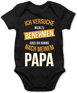 Shirtracer Sprüche Baby - Ich versuche Mich zu benehmen Papa orange - Baby Body Kurzarm für Jungen und Mädchen