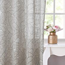 RYB HOME Sheer Curtains for Sliding Glass Door, Semi Voile Window Treatment Panels Line Drawing Leaves Country Room Decorative Window Dressing, 52 inch by 84 inch Each Panel, Set of 2, Taupe