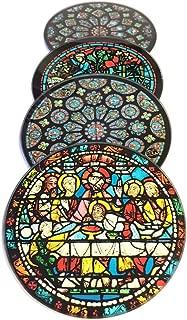 シャルトル大聖堂Windowsガラスドリンクバーコースターのセット4withストレージスタンド