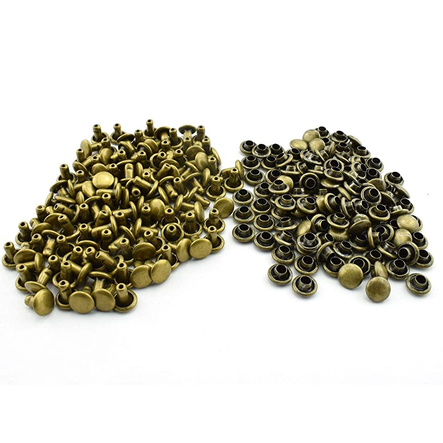 RuiLing 120pcs 6x6mm Bronze Double Cap Rapid Rivets Round Head Decorative Rivets DIY Leather Craft Studs 1/4 inch