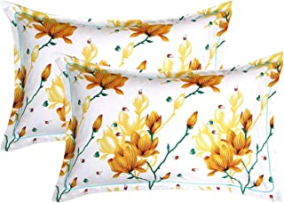BSB HOME® 100% Cotton Printed Design King Size Pillow Covers Set of 2 (18X28 Inches, Yellow and White)