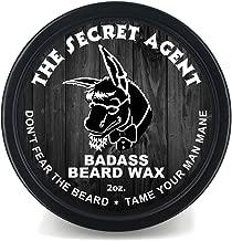 Badass Beard Care Beard Wax For Men - The Secret Agent Scent, 2 oz - Softens Beard Hair, Leaves Your Beard Looking and Feeling More Dense