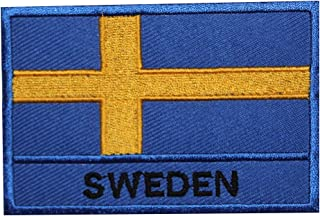 Sveriges nationella flagga broderat stryk på lapp sy på märke för kläder etc