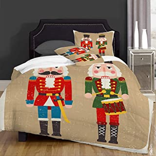 Queenker Juego de Funda nordica,Ropa de Cama,Story Christmas Two Colored Nutcrackers Holidays Toys Retro Vintage Drummer Design,Microfibra,Edredon 220x240cm con 2 Fundas de Almohada 50x80cm
