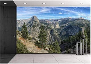 wall26 - Mountain Top View with Forest and Cloudy Sky - Removable Wall Mural | Self-Adhesive Large Wallpaper - 100x144 inches