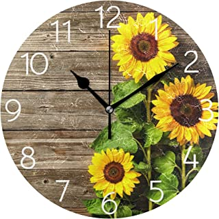 MOYYO Autumn Sunflowers on Wooden Board Wall Clock 9.8 Inch Silent Round Wall Clock Battery Operated Non Ticking Creative Decorative Clock for Kids Living Room Bedroom Office Kitchen Home Decor