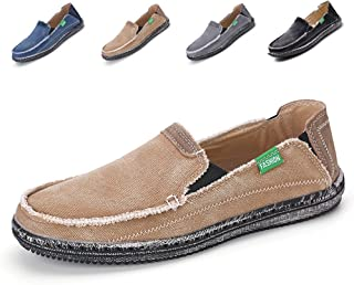 SANBANG Men's Sneaker Canvas Flat Slip-On Loafers Boat Shoes for Driving Walking Weeding Outdoor Khaki 11 M US