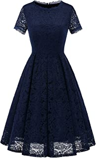 DRESSTELLS Women's Homecoming Vintage Tea Dress Floral Lace Cocktail Formal Swing Dress