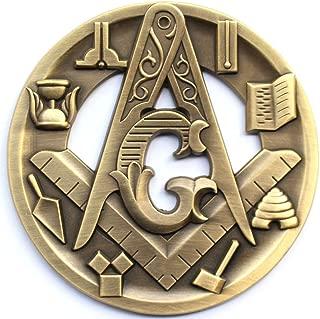 Masonic Working tools Symbols 3D Antique Bronze Brass cut out Auto Emblem Car decal 3