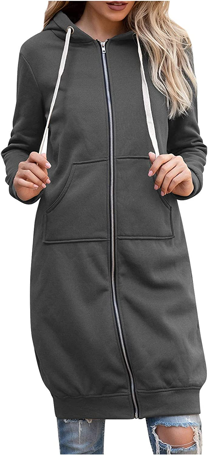 NREALY Womens Casual Solid Color Long Sleeve Cardigan Hooded mid-Length Coat