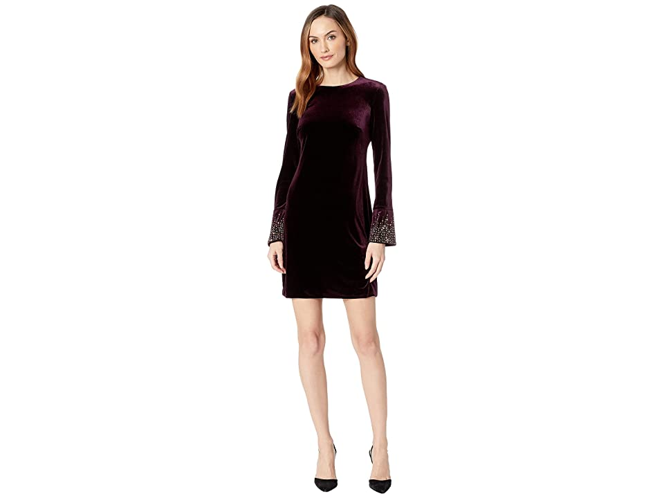 Calvin Klein Velvet Dress with Embellishment At Sleeve CD8V19TL (Aubergine) Women