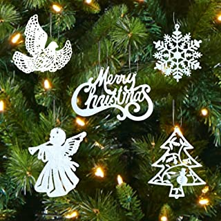BANBERRY DESIGNS White Christmas Decorations – Set of 39 Sparkling Glittery Christmas Tree Ornaments - Trees, Doves, Angels, Snowflakes, Merry Christmas – Shatterproof Ornaments