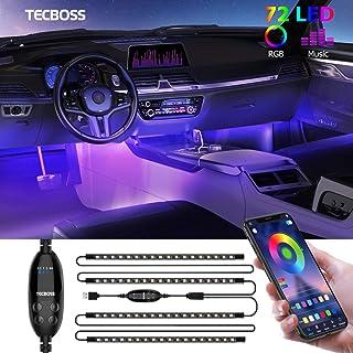 Interior Car Lights, Tecboss LED Strip Lights, Atmosphere Lights with 72 LEDs Waterproof, Bluetooth APP Remote Control, US...
