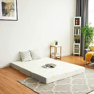 Giantex Memory Foam Mattress Tri-Folding Sofa Floor Comfort Mat Bed Topper Pad Guests Multifunctional 6 Inch Mattress with Carry Bag (Queen Size)