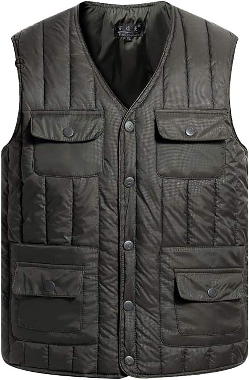 IGJMOD Casual Multi Pocket Man Down Cotton Vest Winter Warm V-Neck Button Waistcoat ArmyGreen 3XL