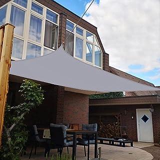 日除け シェード サンシェード ベランダ 雨よけ オーニング 防水 シェード 庭 95%UVカット 暑さ対策 熱中症対策 高耐久性 簡単設置 庭 キャンプ シェード セイル取り付け金具 ステンレス製付き (1.8Mx2.4M, グレー)