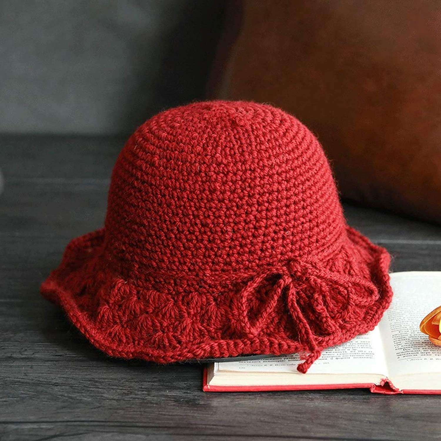 ZXW hat  Female Autumn and Winter Korean Wool Blend Crochet Soft Foldable Wool Cap (color   RED, Size   5456cm)