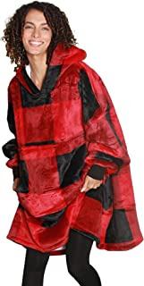 Best Catalonia Oversized Hoodie Blanket Sweatshirt,Super Soft Warm Comfortable Sherpa Giant Pullover with Large Front Pocket,for Adults Men Women Teenagers Kids Wife Girlfriend,Red Plaid Reviews