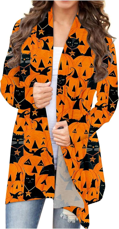 FABIURT Cute Cardigan for Women,Halloween Long Sleeve Open Front Cardigan Funny Pumpkin Ghost Black Cat Lightweight Coat