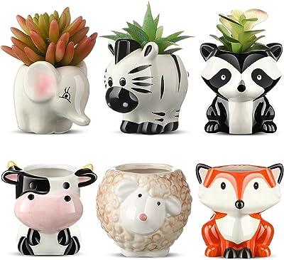 6 Pieces Cute Animal Succulent Planter Pot with Drainage Hole, Cartoon Cow Elephant Ceramic Flower Plant Pot Tiny Flower Planter Cactus Container Indoor Outdoor Office Home Decor