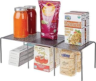 mDesign étagère de cuisine – égouttoir pratique en métal pour plus d'espace de rangement – étagère cuisine télescopique ré...