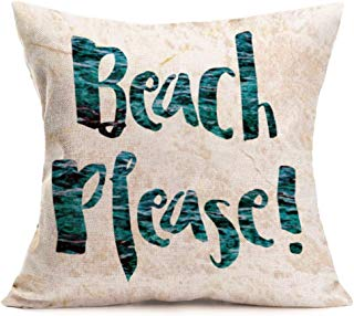 Smilyard Vintage Throw Pillow Covers Quote Words Cotton Linen Square Decorative Pillow Cover Cushion Cases 18x18 Inch Beach Please in Simple Words Decor for Home Sofa Pillow Case (Beach Please)