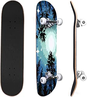 Classic Concave Skateboard mysterious circle of stones in the forest digital illustration Canadian Maple Trick Skateboards...