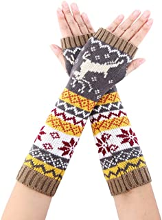 Novawo Women Arm Warmers Long Fingerless Gloves Winter Warm Texting Gloves with Lovely Sika Deer Pattern