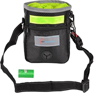 Pet Industries Blowout Sale Dog Treat Training Pouch with Poop Bag Dispenser, Waist & Shoulder Reflective Strap, 2 Zippered Pockets and Quick-Access Opening [Premium Edition]