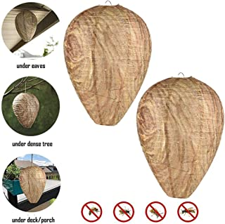 FOONEE 2 Pack Natural Wasp Deterrent, Wasp Repellent Eco Friendly Paper Wasp Nest Decoys, Hanging Wasp Nest for Wasps Hornets Yellowjackets