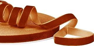 LaRibbons 3/8 Inch Wide Crushed Velvet Ribbons by 25 Yards Spool - Pumpkin Orange