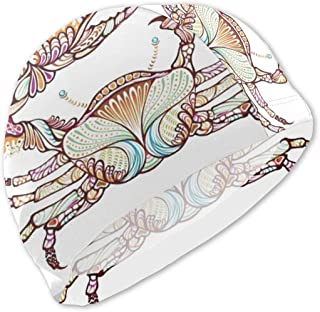 AMZOA Crab Fish with Ethnic Ornate Lines Kids/Adult Swim Caps,Silicone Waterproof Comfy Bathing Cap Swimming Hat for Long and Short Hair