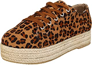 Kiss Me Sneakers Leopard Shoes for Women,Platform Espadrille Shoes Slip On Sneaker Canvas Shoes Casual Round Toe Flat Shoes