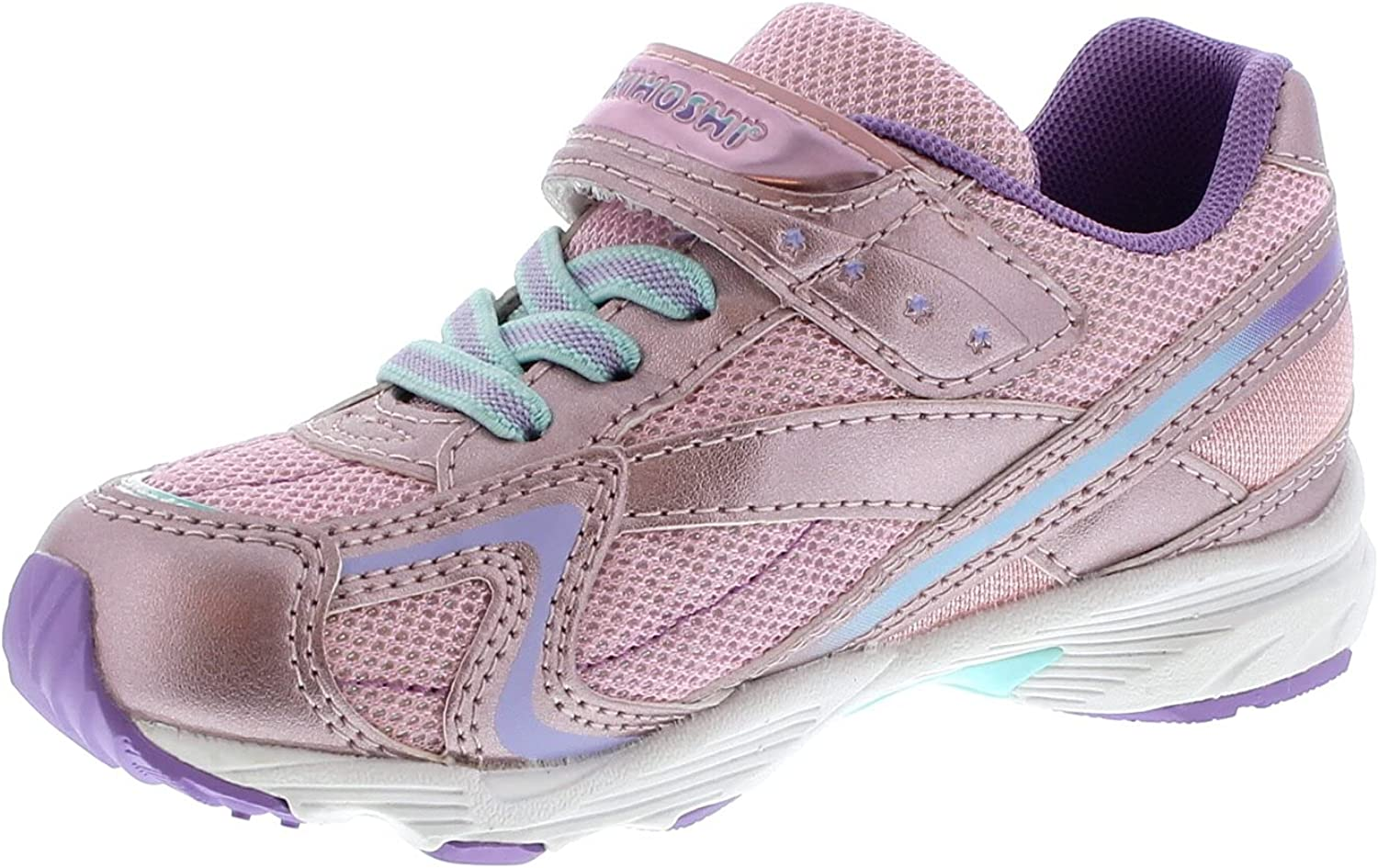 TSUKIHOSHI 3537 Glitz Strap-Closure Machine-Washable Child Sneaker Shoe with Wide Toe Box and Slip-Resistant, Non-Marking Outsole - Rose/Lavender, 1 Little Kid (4-8 Years)