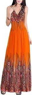 Women's Peacock Maxi Long Beach V Neck Dresses