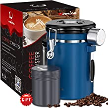 22oz Coffee Bean Container with Scoop, Coffee Bag and Travel Jar - Stainless Steel Airtight Storage Canister with Co2 Gas Release and Calendar Wheel - Blue