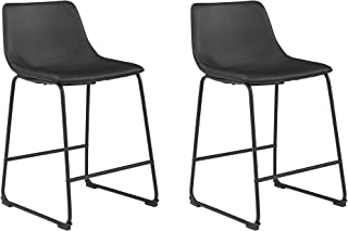 """Signature Design by Ashley Centiar 24"""" Counter Height Modern Bucket Barstool Set of 2, Black"""