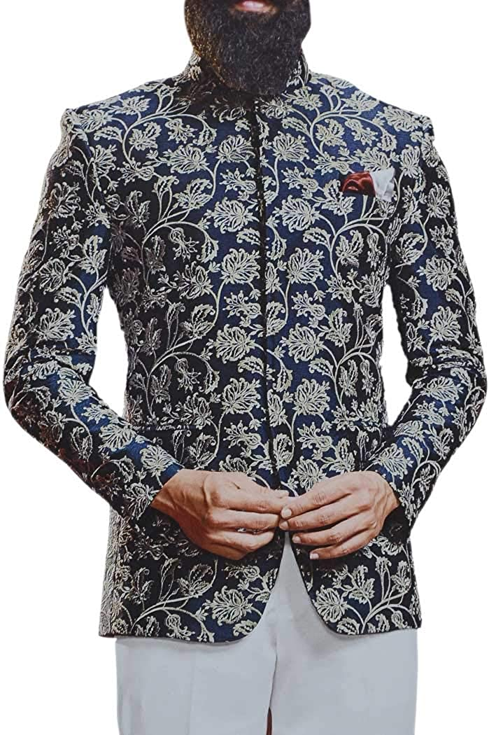 INMONARCH Navy Blue Concealed Button Embroidered Jodhpuri Indian Wedding Suit JO1044