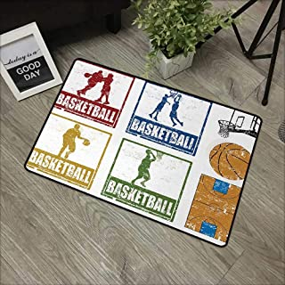 Bathroom door mat W24 x L35 INCH Basketball,Collection of Vintage Rubber Stamp Print Illustration Basketball Players,Navy Green Red Natural dye printing to protect your baby's skin Non-slip Door Mat C