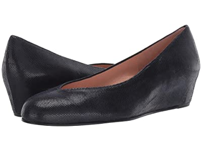 French Sole Cubic Wedge Heel (Navy Printed Suede) Women