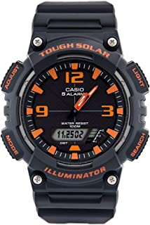 Casio Ana Digi Solar stopwatch, Matte Grey/Orange
