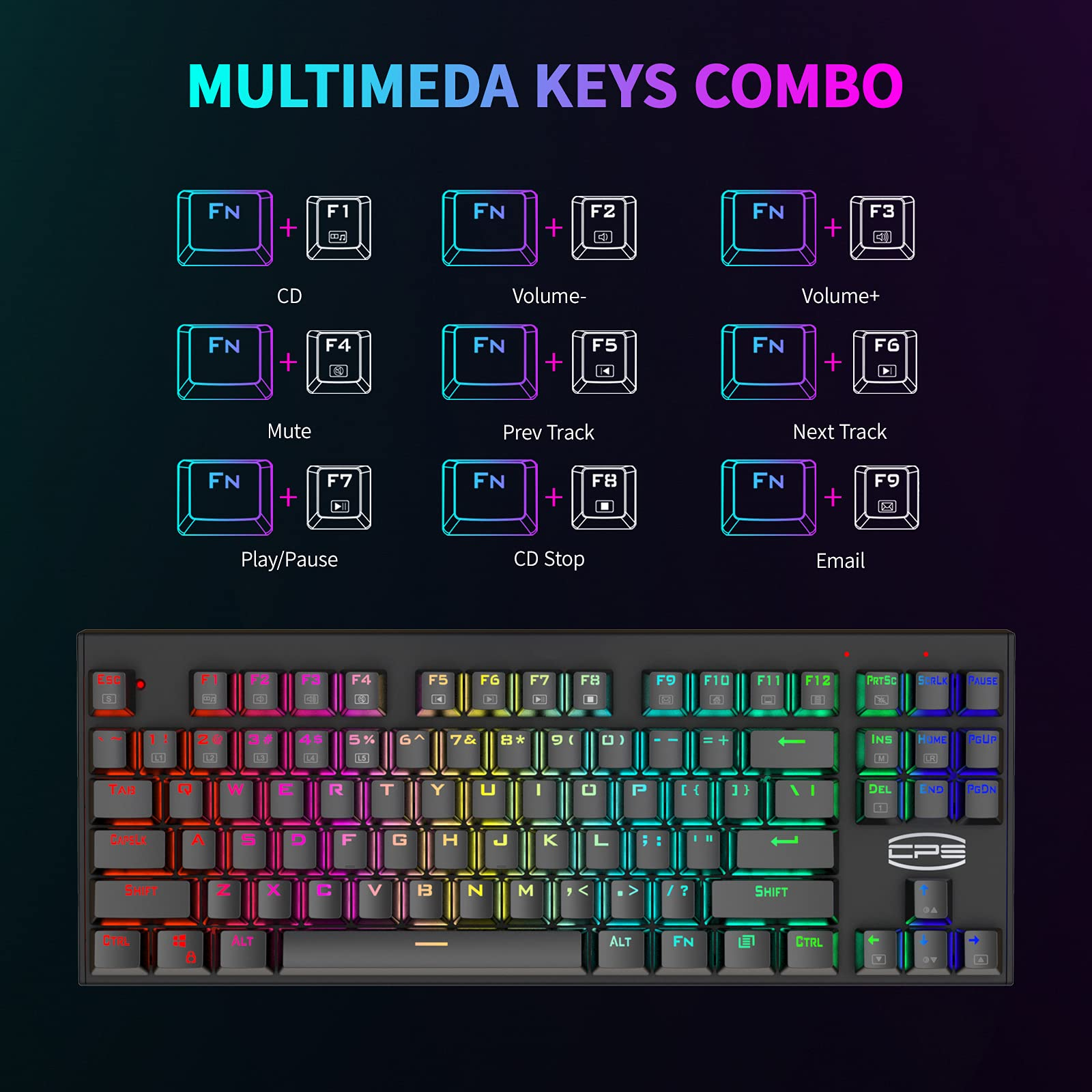 CP3 Gaming Keyboard RGB Wired Keyboard Anti-ghosting 87 Key Mechanical Keyboard with Blue Switches for Laptop, Windows, PC Games and Work