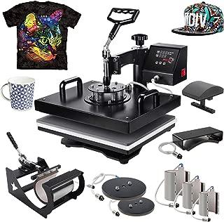 PowerPress 8 in 1 T-Shirt Digital Heat Press Machine Transfer Sublimation Hat Mug Cap Plate 15-by-12-Inch, Black