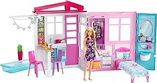 Barbie® Pop en Poppenhuis, draagbare speelset met zwembad en huis op begane grond - Standard Packaging