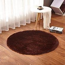 Woais Soft Non Slip Home Textile Kitchen Doormat Yoga Mat Round Carpet Plush Rugs Home Decoration Floor Mats(Coffee)