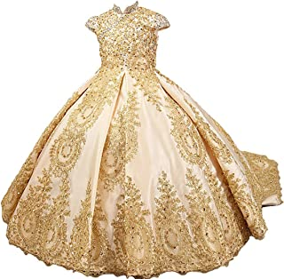 487963f27 gsunmmw Gold Lace Flower Girl Dresses for Wedding Beaded Pageant Ball Gown  First Communion Dress for