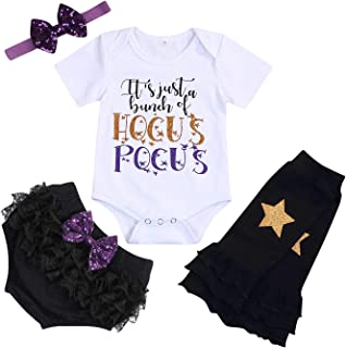 Baby Girls Halloween Outfits Witch Toddler Funny Letter Print Romper+Diaper Cover+Headband+Leg Warmers Clothes Set